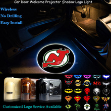 2x New Jersey Devils Logo Wireless Senor Car Door Welcome Ghost Shadow Spotlight Laser Projector Puddle LED Light (NHL11)