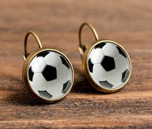 Vintage Bronze Stud Earrings For Women Gifts Soccer Ball Picture Glass Earrings Jewelry Fashion Earrings Geometric Earrings Sale