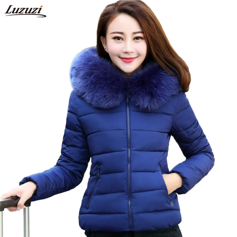 1PC Winter Jacket Women Parka Fur Hooded Cotton Coat Short Jaqueta Feminina Chaquetas Mujer Casacos De Inverno Feminino Z553Îäåæäà è àêñåññóàðû<br><br>