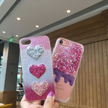 New Love Glitter for iPhone 7 Case Glitter 7plus Cover Luxury Funda for iPhone 6 6s 6plus 6splus Case Bling Bing Ice Cream