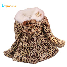 girls winter coat children outwear leopard faux fur coat autumn jackets for girls casual clothes baby thick fleece warm clothing(China)