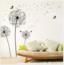 New  2017 HOT Diy Home Decor New Design Large Black Dandelion Wall Sticker Art Decals PVC Wall Decoration free shipping