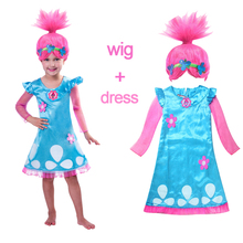 2018 Girls Dresses Trolls Poppy Cosplay Costumes Dress for Girls Halloween Clothes Kids Fancy Dress Baby Girl Wig Party Clothing(China)