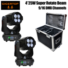 Freeshipping 4 Eyes LED Beam Moving Head Light Professional LED Stage Lighting Slim Arm Case Leds Rotation 2in1 Road Case Pack(China)