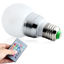 New Energy Saving E27 LED RGB 3W 16 Colors Change Lamp Light Bulb For Party Club KTV+24 key IR Remote Controller AC85-265V