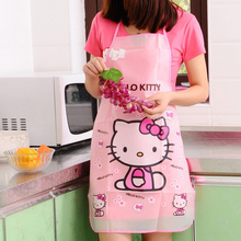 Kawaii Hello Kitty Kitchen Apron , Transparent Waterproof PVC Adult 70*50CM Women Lady's Kitchen Clean Apron Pinafore