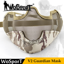 WoSporT Paintball Mask Tactical V2 Metal Steel Net Mesh Camouflage Mask for Military Airsoft Shooting Paintball Accessories