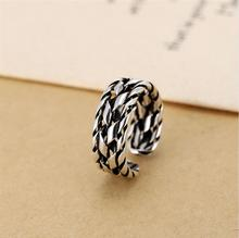 Wide interleaving Rome thumb forefinger opening ring,925 sterling silver for women vintage.