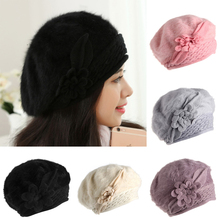 Mujeres reversible faux fur cap slouch baggy beanie knit crochet sombrero chica caliente