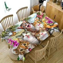 Customizable 3D Tablecloth Cute Cats Family Pattern Washable Cloth Thicken Rectangular and Round Table Cloth for Wedding(China)