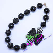 Free Shipping Kids Handmade Jewelry DIY Chunky Bubblegum Bead Black Bowknot Necklace Manufacturer For Amazon Ebay CDNL-410469