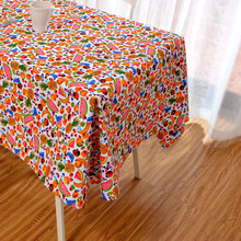Latest High Grade Eco-friendly Colorful Fruits Pattern Table Cloth Orange Banana Apple Table Cover Dinner Desk Decoration Yellow