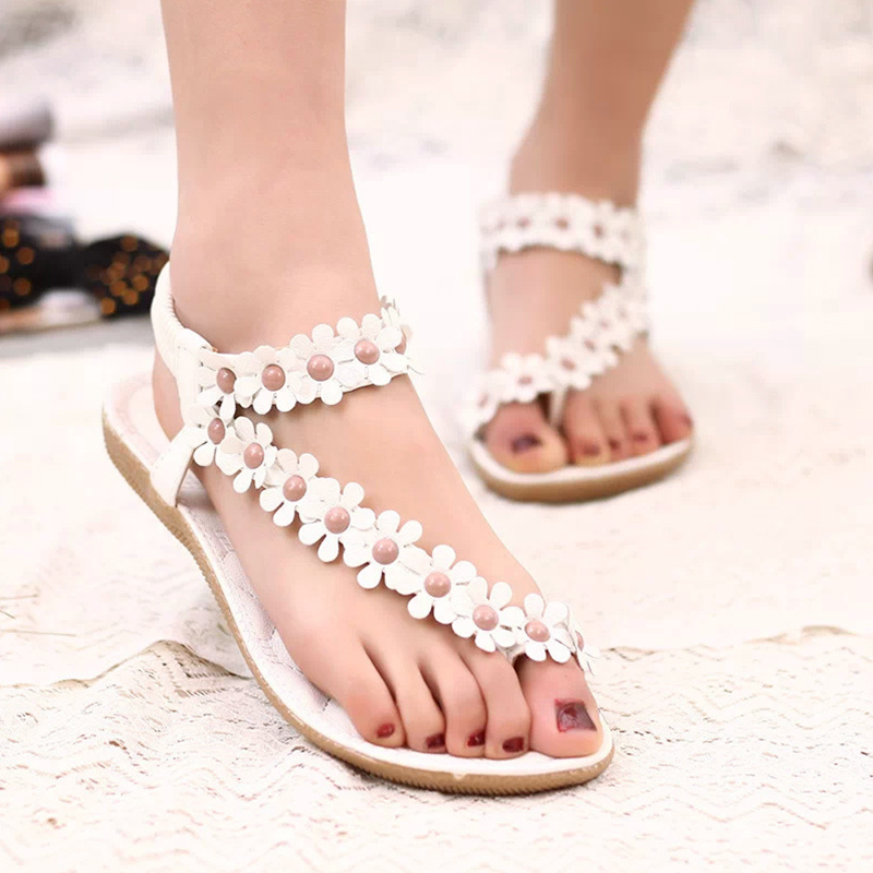 Beading Women Sandals 2017 Summer Sandals Women Flats Sandals Ladies Shoes <br><br>Aliexpress