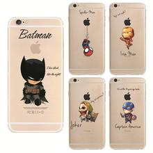 Cartoon Raytheon Batman Soft Tpu Back Cover Phone Case For Apple Iphone 6 6s iron Man Captain America Spider-Man Silicone Coque