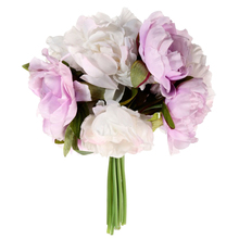White+Purple Great Wedding Bouquet Bridal Party Decor  Romantic 10 Heads Artificial Silk Flower Peony Flowers
