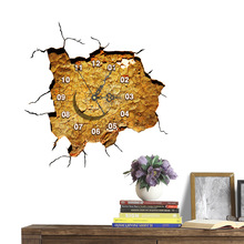 European modern simple fashion 3D crack wall stickers clock art mute personality wall stickers(China)