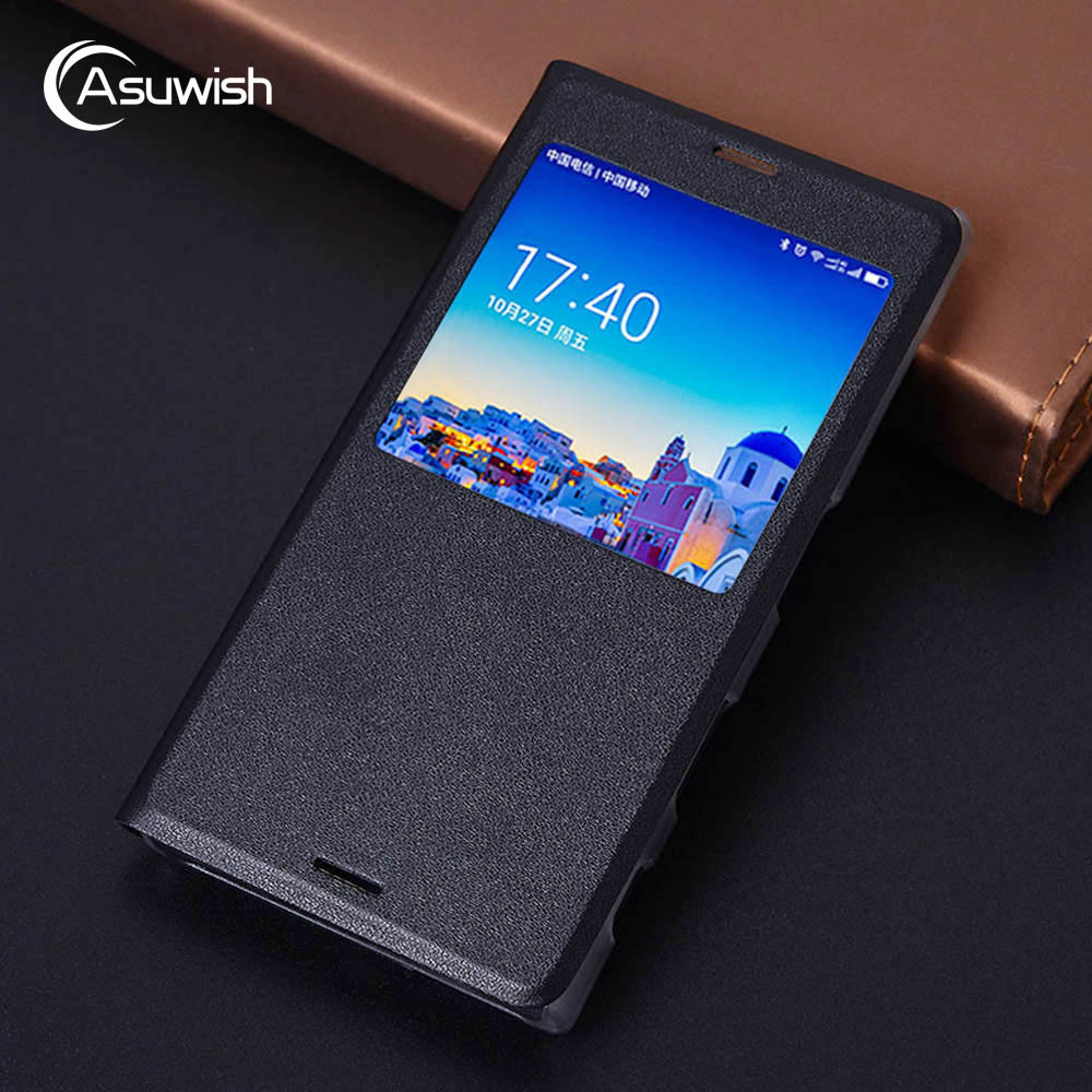 Asuwish Flip Cover Leather Phone Case For Sony Xperia X Compact F5321 For Sony Xperia X F5121 Dual F5122 Case Slim Clear View(China)