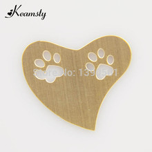 Keamsty Promotion Newest Heart Shape Gold Color Stainless Steel Hollow Out Dog Paw Plate fit for Floating Locket 10pcs/lot(China)