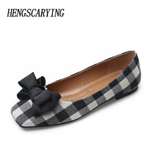 Spring Shoes Women 2018 Lattice Soft Flats Big Size Sweet Girls Pink Bow  Ballerina Flats Casual 901493b3a7ad
