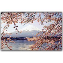 Hukou Scenic Mount Fuji Cherry Tree Poster Printed Silk Arts Offer Home Decorative Painting Posters FJ001