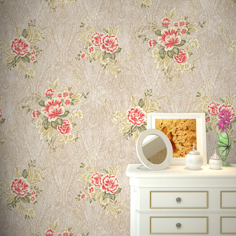 Victorian Cottage Vintage Floral Wallpaper Roll Red Color Flower Flock Textured Wall Paper For Bedroom,Cream,Beige,Pink,Green<br>