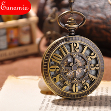 Vintage Antique Pocket Watch Mechanical Men Women Chain Watch Engraved Arabic Numbers Round Case Analog Steampunk Watch Cool