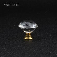 30mm 5pcs Sale Transparent Crystal Glass Diamond Knob Gold Base Metal Accessories Furniture Hardware Drawer Cabinet Handle(China)