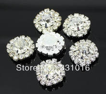 100pcs DIA 15mm Round Rhinestone Embellishment  Buttons Flat Back Clear Crystal Cluster Buckle DIY 	Accessories