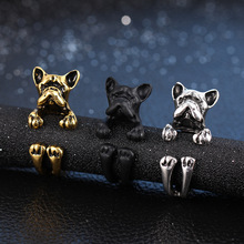 2017 New Factory Direct Sales Punk Vintage West Highland Yorky Terrier Rings Streched Animal Bulldog Dog For Free Shipping
