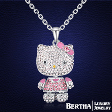 2016 Trendy Beautiful Cute Hello Kitty Necklace Collier Top Quality Austria Crystal Jewelry Made With Swarovski Elements