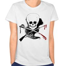 skull-guns-word-blood Customized Cotton Printing O-Neck Short Sleeve White T Shirts Woman Cute Streetwear Die Dye T-Shirt(China)