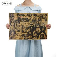 TIE LER Rock and Roll Music Posters Famous Rock Singer Personalised Room Decoration Kraft Paper Wall Sticker(China)