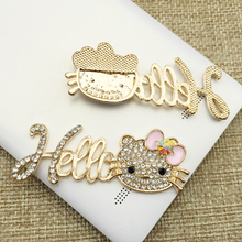 20pcs Hello Kitty Crystal Rhinestones Applique Flatback Alloy Pandent Belt Shoes Hair Ornament Brooch Garment Case Accessories