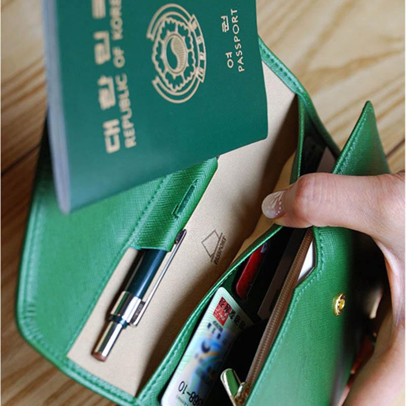 Reispaspoort Cover Opvouwbare Creditcardhouder Geld Portemonnee ID Multifunctionele Documenten Vlucht Bit Licentie Portemonnee Tas PC0045 (18)