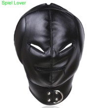 Buy Spiel Lover Leather Head Bondage Restraint Mask Open Mouth&Eyes Sex Slave Gag Mask Bondage Hood Sex Toys Couples SM products