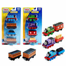 3-4pcs Thomas and friends trains hot tomas metal magnetic trains miniatura de carro diecast model kids jouets pour enfants gift(China)