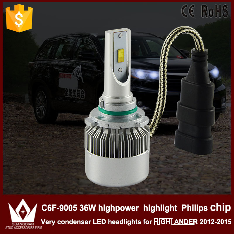 Guang Dian car led light 9005 Headlight Head lamp high beam C6F 6000K white 9005 HB3 for TO-Y-O-TA For Highlander 2012-2015 only<br><br>Aliexpress