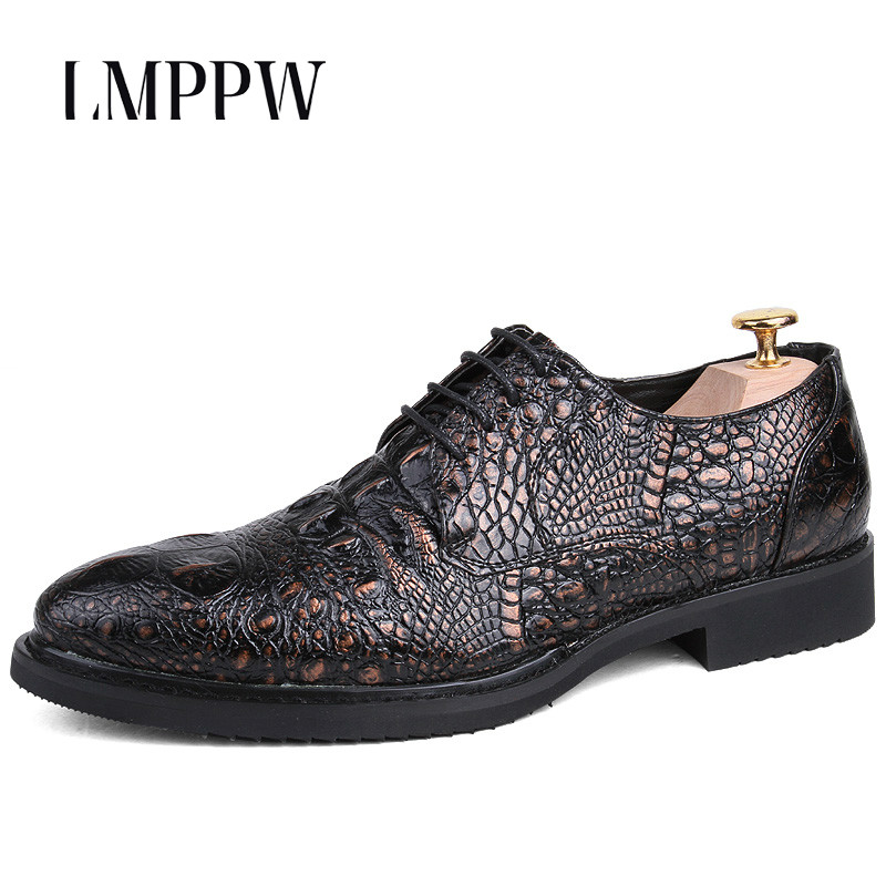 Luxury Brand Crocodile Print British Business Casual Shoes Mens Pu Leather Shoes Fashion Lace-up Bullock Shoes for Men Oxfords<br>