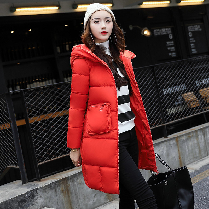 New Autumn Winter 2017 Parkas Long Slim Cotton Wadded Hooded Big Pocket Thin Thick Jacket Femlae Parkas Warm Outwear JaquetaÎäåæäà è àêñåññóàðû<br><br>
