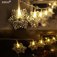 ZINUO Snow Shaped Fancy led string light 3M 30Leds Battery Powered Decoration LED for Wedding Christmas,Party garland led lights