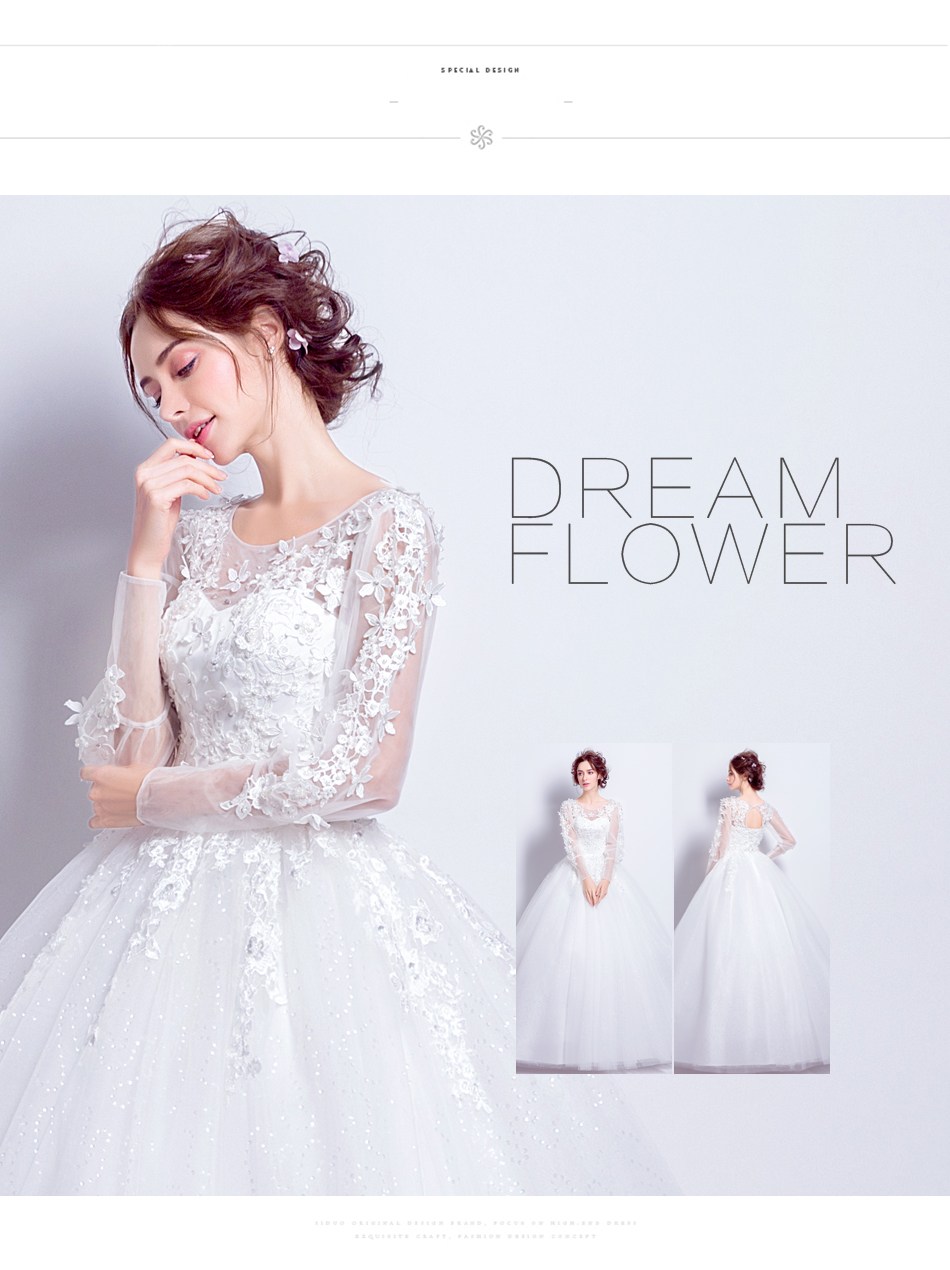 Angel Wedding Dress Marriage Bride Bridal Gown Vestido De Noiva 2017 Sweet, lace, flowers, long sleeves, 6011 5