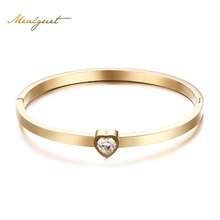 Meaeguet Gold-Color Designer Stainless Steel Bangle Crystal Cuff Buckle Opening Love Bracelet For Women Jewelry Pulseiras
