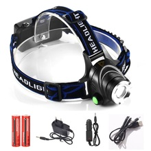 LED headlight zoomable cree XML T6 2000LM headlamp rechargeable head lamp light torch flashlight 3-mode adjust focus for camping
