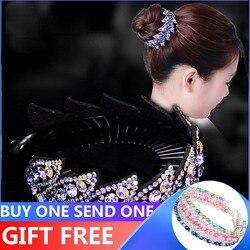 Женская заколка для волос AWAYTR, зажим-гнездо с цветами и стразами, модная крученая шпилька для волос, 10 цветов