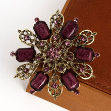 2015 Cheap hot sell  Fashion Jewelry Women Flower Brooches Pin Alloy Marquise Acrylic Rhinestone Brooches