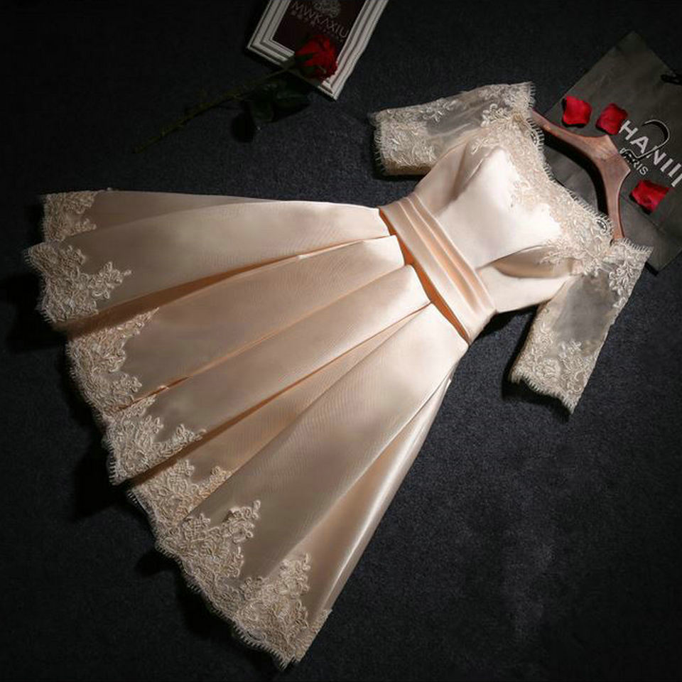 Fashion Pink Prom Dresses Short 2018 New Sexy Prom Dress Boat-Neck Satin Appliques Lace-Up Beach Built-In Bra Party Gowns 16