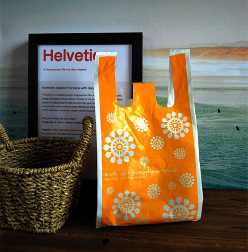 "100pcs/lot Size 18*35cm(7""*14"") Yellow Supermarket Shopping plastic Bag with handle printing Sun flower plastic bag"