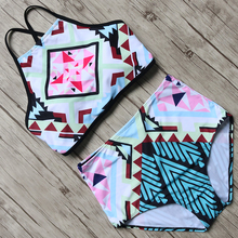Buy High Waist Bikini Set Women High Neck Bikini Printed Swimsuit Sexy Halter Bandage Swimwear Padded Bathing Suit Summer Swim Wear