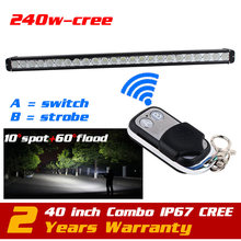 40'' 240W CREE LED Light Bar Wireless Remote Strobe Light for Tractor 4X4 ATV 12v24v LED Offroad Fog light Bar Seckill 120w 180w(China)