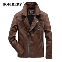 SOFIBERY PU Leather Men's jacket locomotive leather coats Casual collar PU leather clothing Men's leather jacket QL1782